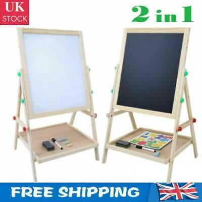 £22.22 • Buy 2IN1 Dual Sides Drawing Easel Chalk Blackboard Magnetic Whiteboard Portable Gift