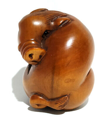 £19.99 • Buy G5658 - 20 Years Old 2   Hand Carved Boxwood Netsuke Figurine Carving - Boar Pig