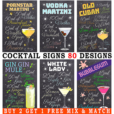 £4.99 • Buy METAL SIGNS Cocktail Recipes Tiki Bar Posters Home Decor Gift Kitchen Wall Art