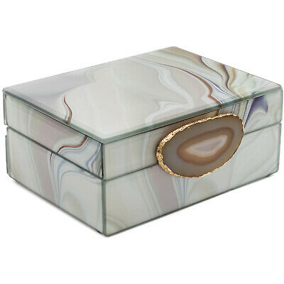 £15.99 • Buy White Jewellery Box With All-Natural Agate Stone Accessory Storage Display Box