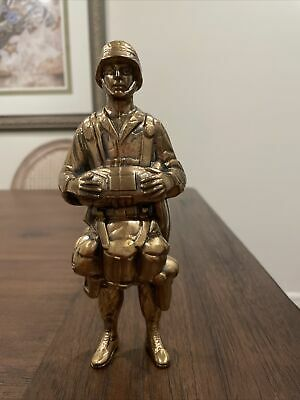 """$75 • Buy US Army 8"""" Soldier Statue Bronze Color Figurine Military Uniform With Backpack"""