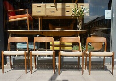 £1395 • Buy A Set Of Four Vintage 1970s Danish Moller 75 Dining Chairs With Paper Cord Seats