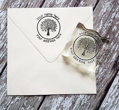 £9.50 • Buy Custom Personalized Business Return Address Name Tree Rubber Stamp