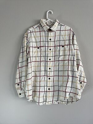 $24.99 • Buy Orvis Mens Flannel Long Sleeve Shirt Size L 100% Cotton Button Up Ivory Plaid