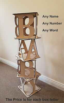 £19.99 • Buy Large Wooden Cubes Hollow BABY Birthday Wedding Any Name  Letters Mr  Mrs Ect