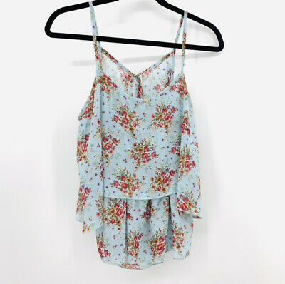 $ CDN25.97 • Buy Anthropologie Paper Crane Floral Ruffle Kimono Flounce Top Blue Tiered Poly Med