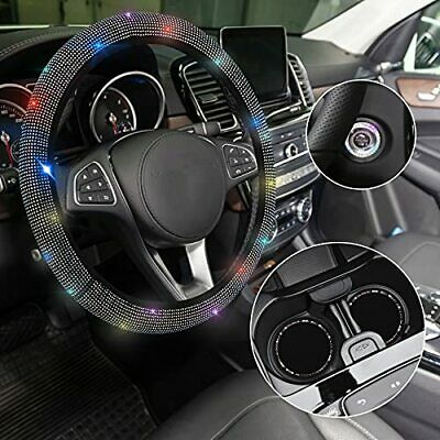 $17.61 • Buy WELLVO 4 Pack Bling Car Accessories Set Bling Steering Wheel Cover For Women New