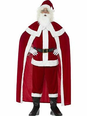 £47.71 • Buy Deluxe Santa Claus Costume + Cape Father Christmas Mens Xmas Fancy Dress Outfit