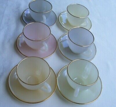 £47 • Buy Vintage Arcopal Harlequin Tea Set - 6 Cups, 6 Saucers, Very Good Condition