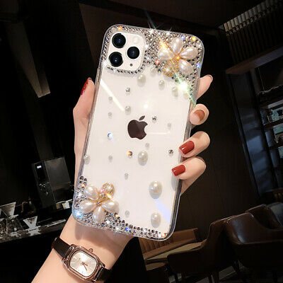 AU14.59 • Buy Girls Bling Glitter Diamond Pearl Flowers Case For IPhone 12 11 Pro X Max XR 7 8