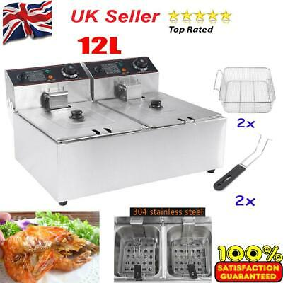 £140.13 • Buy Commercial Professional 12LStainless Double Deep Tank Electric Fryer Chip Basket