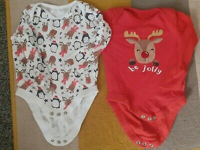 £3.75 • Buy Baby Boys 2 F&F Long Sleeved Christmas Vests 3-6 Months Ex Con A