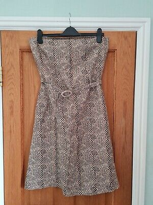 £10 • Buy Snakeskin Cotton Dress, NWOT. Side Pockets, Belted. Size14, Fits 12  By Mexx