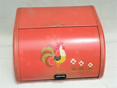 $55 • Buy Vintage ROLL TOP TIN BREAD BOX W/HAND PAINTED ROOSTER SALMON PINK RANSBURG 1950s
