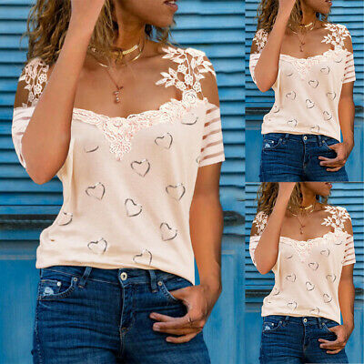 £11.15 • Buy Womens Lace Cold Shoulder T-shirt Heart Print Summer Tee Tops Casual Blouse