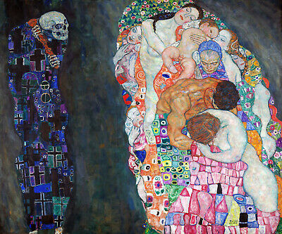 $ CDN88.88 • Buy Death And Life Grim Reaper Gazes Circle Of Life By Klimt Art Repro FREE S/H