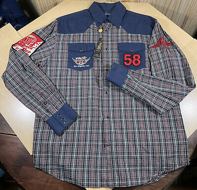 $34 • Buy Sz L- New Christian Audigier Mens Plaid L/S Pearl Button Up Embroidered Shirt