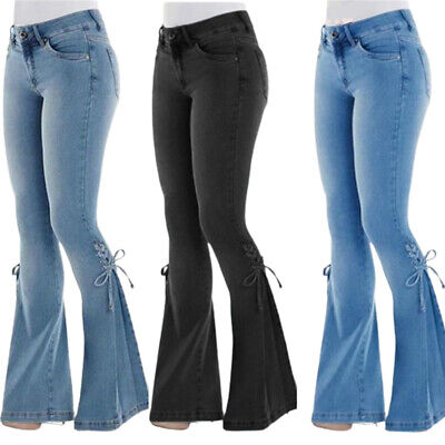 £18.99 • Buy Womens High Waisted Jeans Ladies Skinny Stretch Flared Legs Denim Pants Trousers
