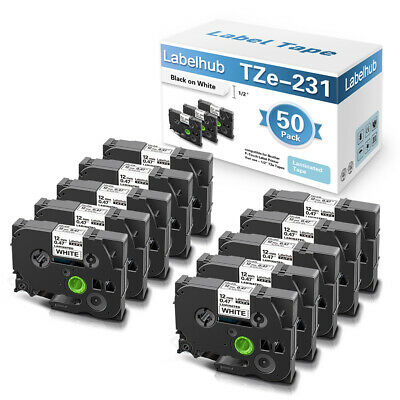 £115.59 • Buy 50PK Label Tape Compatible TZe-231 12mm For Brother P-Touch H110 1000 H105 P700