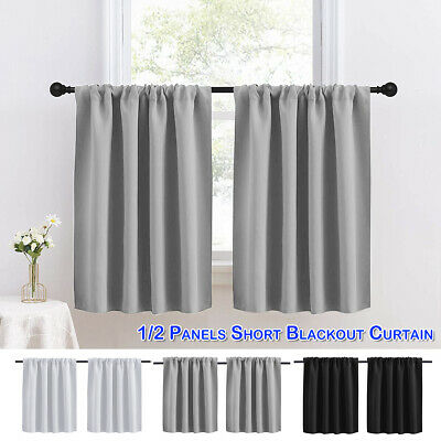 £13.59 • Buy Blackout Short Curtains Kitchen Living Room Bedroom Small Window Curtain Drape