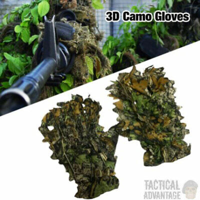 £5.89 • Buy 3D Camouflage Ghillie Gloves Hunting Airsoft Sniper Real Tree Leaf Effect Camo