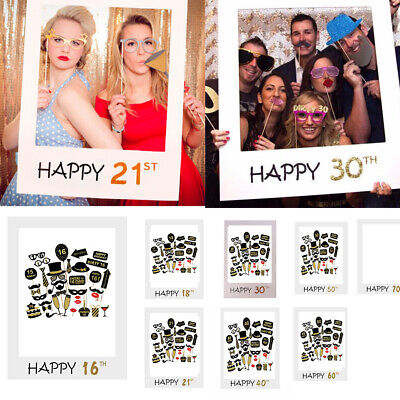 £3.39 • Buy 16/18/30/40/50/60thHappy Birthday Photo Frame Booth Props Selfie Party Decor UK