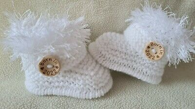 £5.99 • Buy New Baby  Booties  BORN IN 2022 0-3Months  Hand Knitted White
