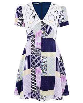 £55 • Buy Olivia Rubin Nora Patchwork Mini Dress 100% Silk New With Tags Size 8 Rrp £320