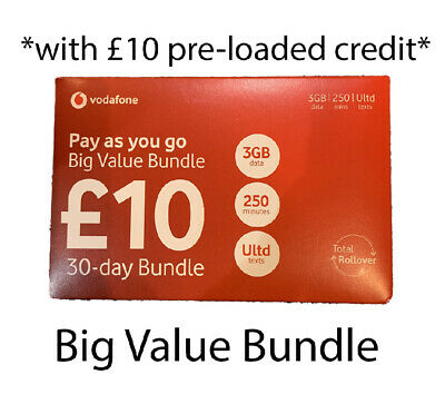 £5.99 • Buy Vodafone Pay As You Go Sim Card With £10 Preloaded Credit Topup Data Unlimited 3