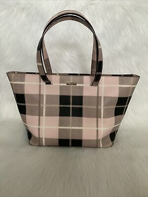 $ CDN43.69 • Buy  Kate Spade New York - Large Plaid Pink & Black Leather Double Handle Tote