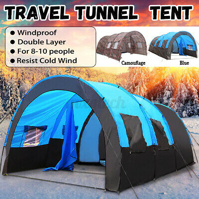 £49.97 • Buy UK Large Family Tent 8-10 Person Tunnel Tents Camping Column Tent Waterproo