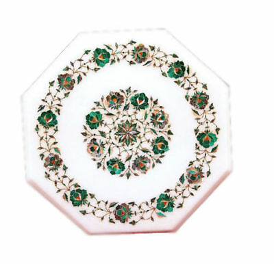£197.90 • Buy Marble Side 12  Table Top Marquetry Malachite Floral Inlay Home Decorative