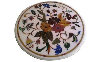 £252.93 • Buy 18  White Marble Side Table Top Handmade Floral Inlay Home Decor