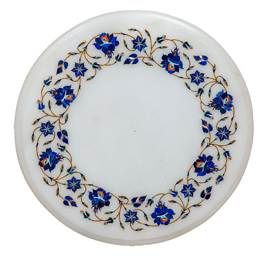 £179.26 • Buy 12  White Marble Table Top Semi Precious Stone Floral Inlay Home Decor
