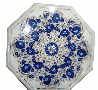 £303.77 • Buy 18  White Marble Table Top Inlay Lapis Handicraft Work Home And Garden Decor