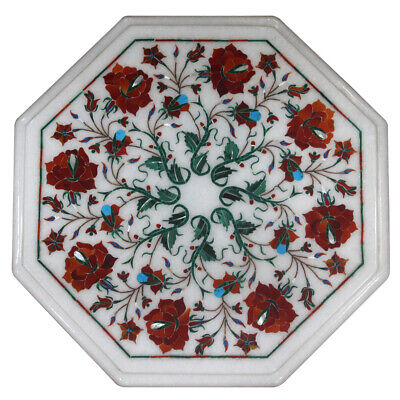 £166.23 • Buy 12  Marble Inlay Side End Table Top Handmade Pietra Dura Home Office Decor