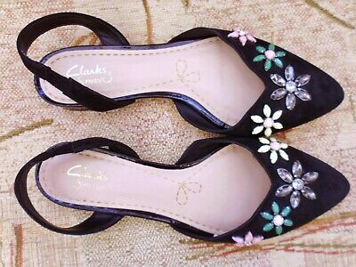 £14.99 • Buy Clarks Somerset Worn Once Uk 5 D Flat Black Leather Pretty Beaded Shoes Wedding