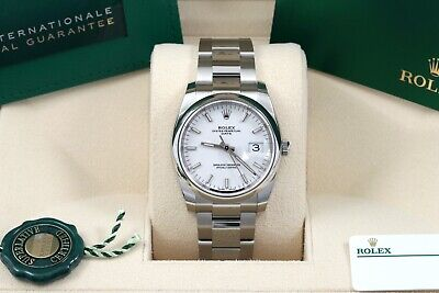 $ CDN9754.83 • Buy Rolex Oyster Perpetual Date 34 White Index Smooth Oyster Box/Papers/Card 115200