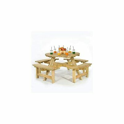 £418.99 • Buy Picnic Table Durable Heavy Duty Round Pub Bench Style Garden Outdoor Furniture