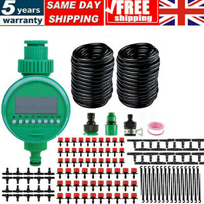 £16.99 • Buy 50M Automatic Drip Irrigation System Kit Plant Timer Self Watering Garden Hose