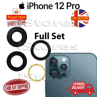 £2.75 • Buy IPhone 12 Pro Replacement Rear Back GLASS Camera Lens Full Set With Adhesive
