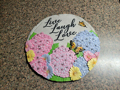 £9.40 • Buy Garden Stepping Stone Wall Plaque Hydrangea Butterfly Daisy Live Laugh Love