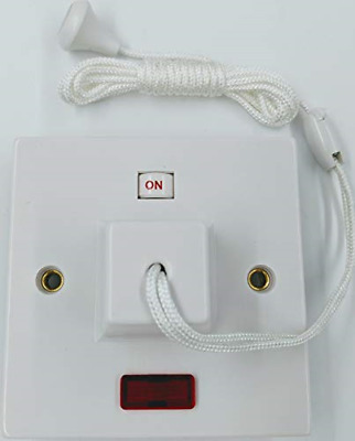 £13.80 • Buy Electric Shower Ceiling Switch With Pull Cord 45 Amp Double Pole Isolator White