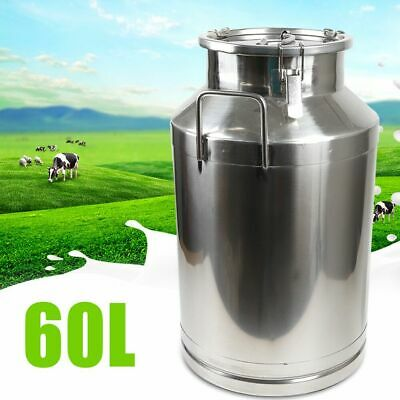 $131 • Buy 60L Milk Can Wine Pail Bucket Jug Oil Storage Tank Canister Stainless Steel USA