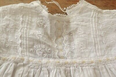£20 • Buy Antique Baby Gown / Christening Gown - White Cotton With Lace