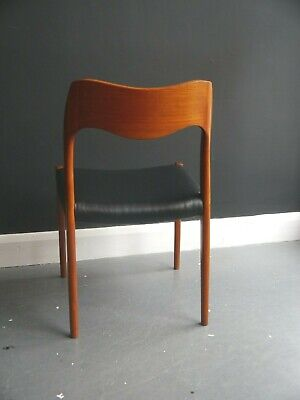 £395 • Buy A Vintage 1970s Danish Moller 71 Dining Chair With Black Leather Seat