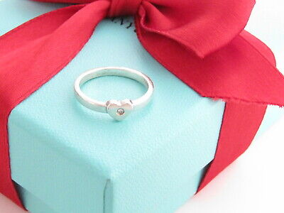 £130.69 • Buy Tiffany & Co Silver Diamond Picasso Heart Ring Band Size 5