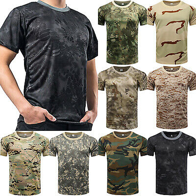 $11.68 • Buy Mens Camo T Shirt Camouflage Tops Army Military Hunting Fishing Muscle Basic Tee