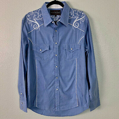 $24.99 • Buy Rock And Roll Cowboy Men's Long Sleeve Embroidered Western Shirt