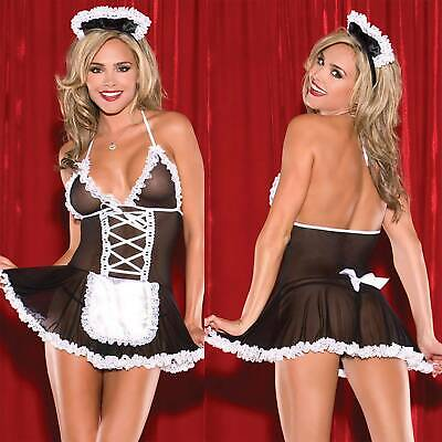 $9.21 • Buy Women Sexy Lingerie Underwear Mesh SM Cosplay French Maid Outfit Set Fancy Dress